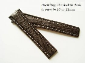 Breitling Sharkskin strap in dark Brown, deployant