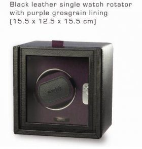 Black leather single winder purple lining