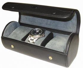 Triple watch storage case/ travel case in black leather
