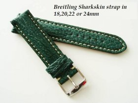 Breitling Sharkskin strap in Green , buckle