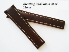 Breitling Calfskin strap in Chocolate, deployant