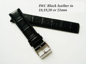 IWC Leather strap in Black Alligator grain .