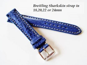 Breitling Sharkskin strap in Blue, buckle.
