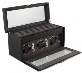 Black leather triple watch winder,, grey interior