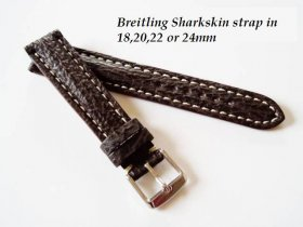 Breitling Sharkskin strap in dark Brown, buckle